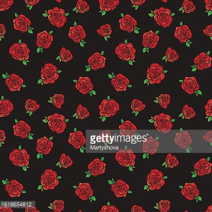 Pattern with red roses.