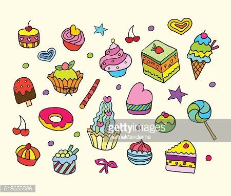 Vector set with bake and sweets.