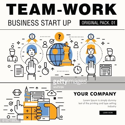 Modern team work pack. Thin line icons business works.
