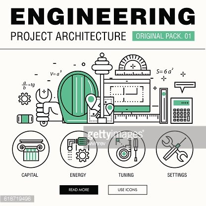 Modern engineering construction big pack. Thin line icons archit