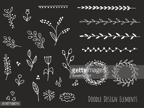 Hand drawn isolated doodle design elements