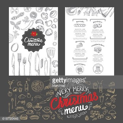 Christmas food menu. Happy new year party invitation restaurant.