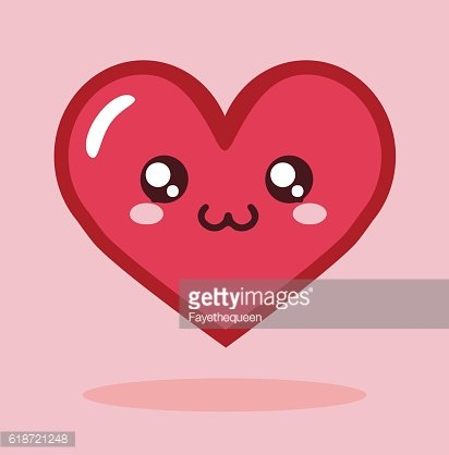Kawaii Cartoon Heart Icon Vector