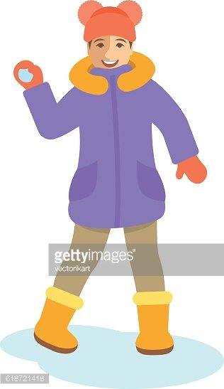 Girl in winter clothes throwing snowball