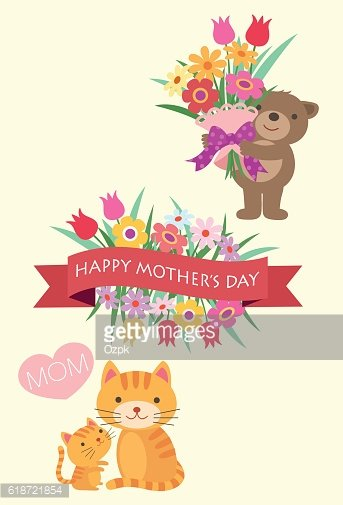 Mother's Day Bear and Cats with Flowers