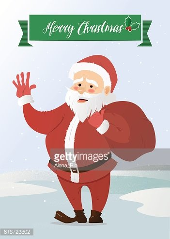 Santa Claus waving. Has brought the bag with gifts. Vector