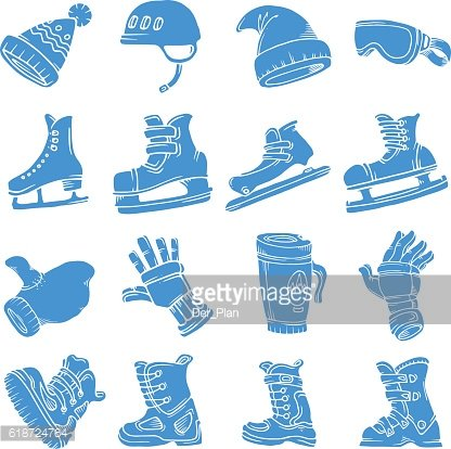 Doodle vector isolated Winter sports