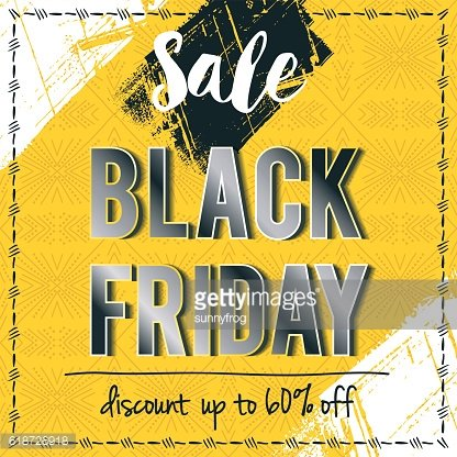 Black friday sale banner on yellow patterned background, vector