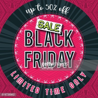 Black friday sale banner on red patterned background, vector