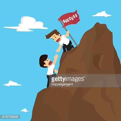 businessman teamwork overcome obstacles