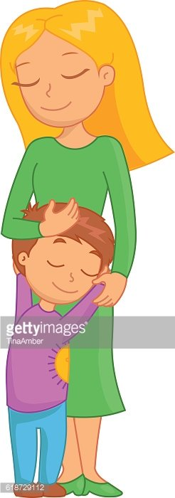 Beautiful mother and son hugging. Funny bright cartoon character.