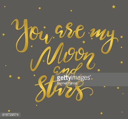 Vector hand drawn 'You are my moon and stars'