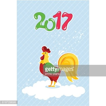 Cartoon rooster characters symbol of 2017 years.