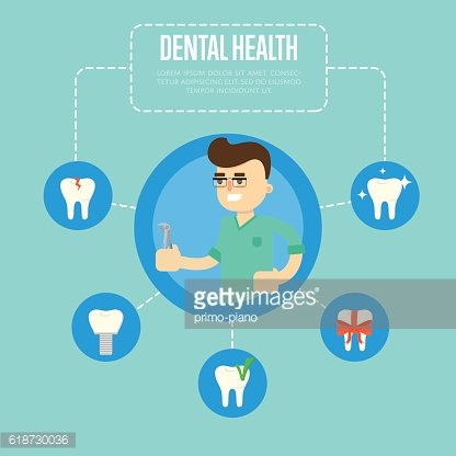 Dental health banner with male dentist