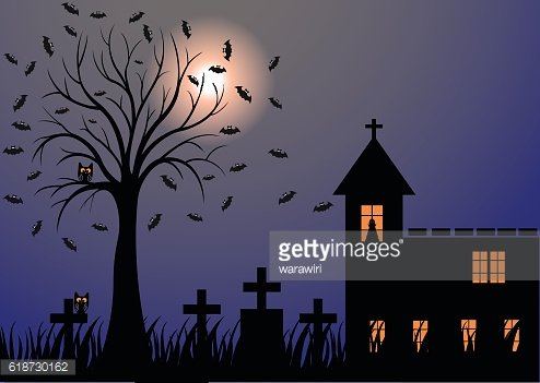 Dark night with moon, bats, trees, graves and the church