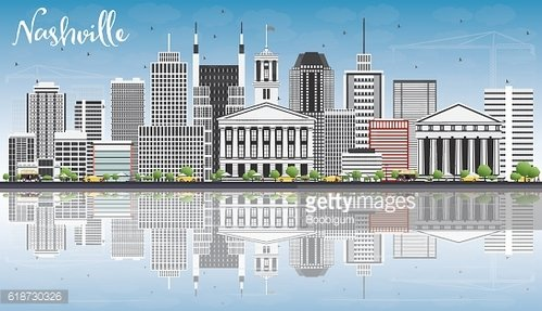 Nashville Skyline with Gray Buildings, Blue Sky and Reflections.