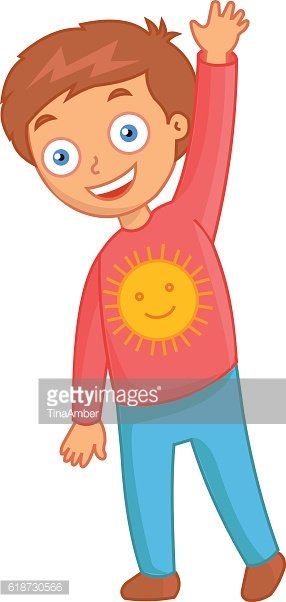 Cheerful little boy with the sun on red jacket