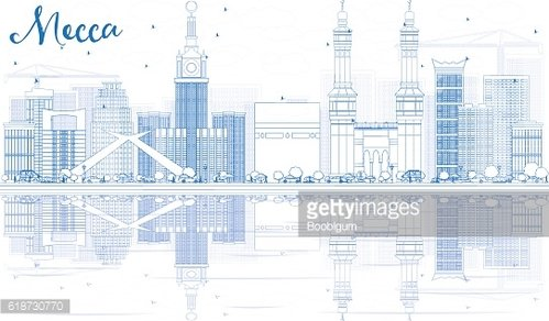 Outline Mecca Skyline with Blue Landmarks and Reflections.