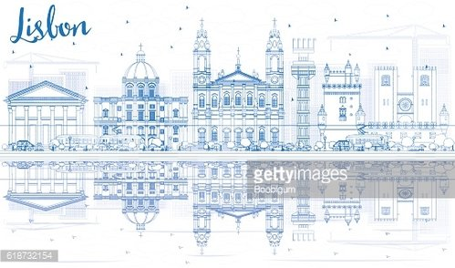 Outline Lisbon Skyline with Blue Buildings and Reflections.
