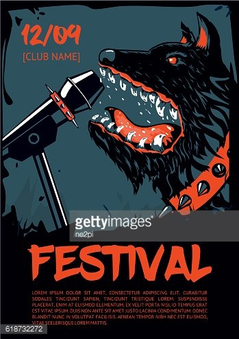 Music poster template for rock concert. Dog with microphone.