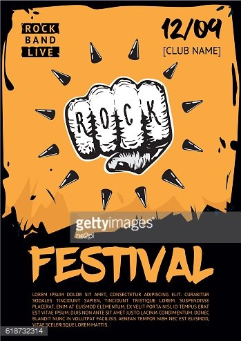 Music poster template for rock concert. Hand with tattoo.