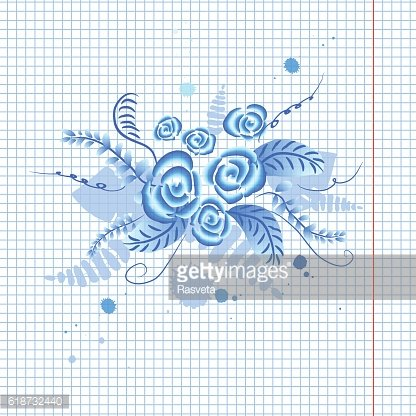 Russian ornament 'Gzhel' floral background