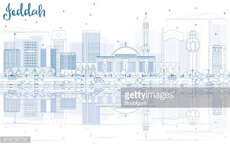 Outline Jeddah Skyline with Blue Buildings and Reflections.