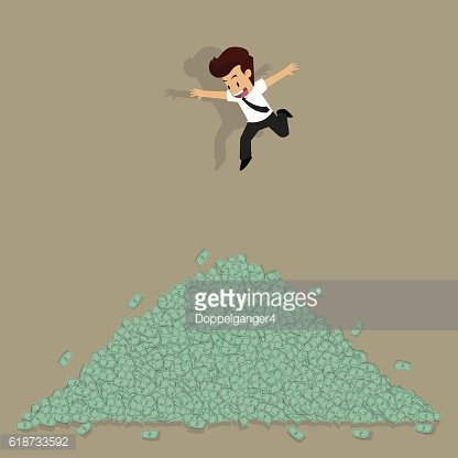 businessman jumped into a pile of money