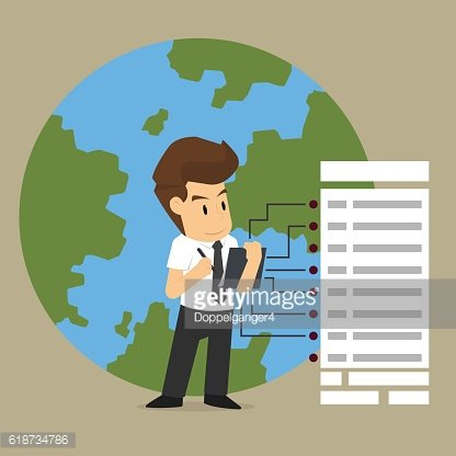 business man Monitoring data throughout the world