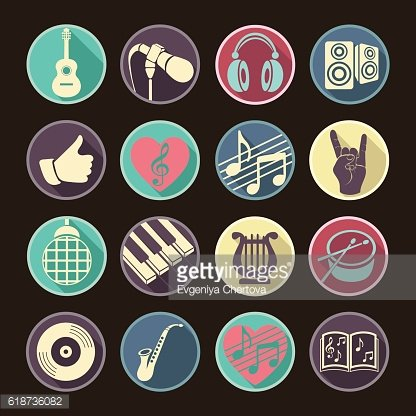 Vector set musical flat web icons. Multicolored icons