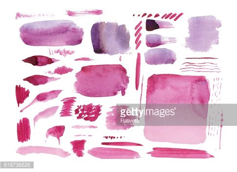 Handmade watercolor texture collection of pink paint