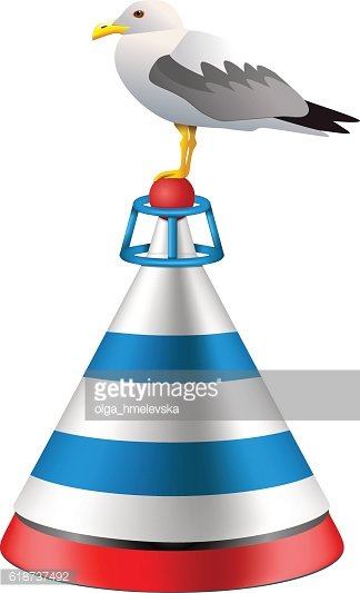 Vector isolated realistic sea buoy with a seagull