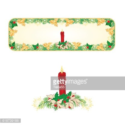 Banner Christmas with a red candlestick and poinsettia vector