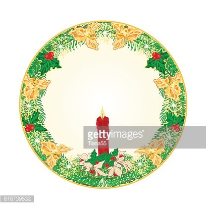 Button circle Christmas with a red candlestick and poinsettia vector
