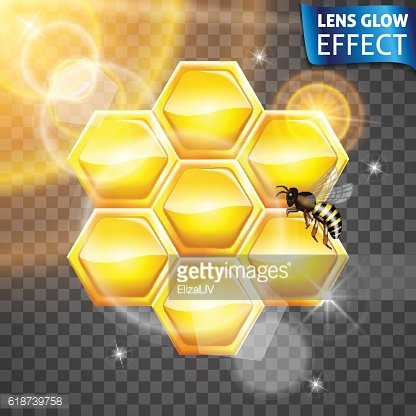 Lens glow effect. Honeycomb, Bee, glowing of the sun