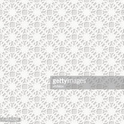 Seamless white 3D pattern, east ornament