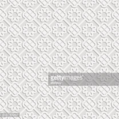 Seamless white 3D pattern, arabic motif