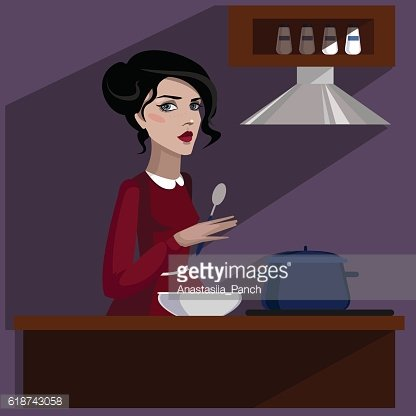 Colorful illustration of girl in the kitchen.