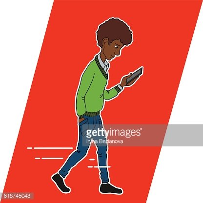 Guy looking at mobile phone apps