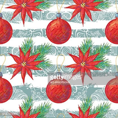 Seamless pattern with Christmas flowers, balls and fir evergreen twigs