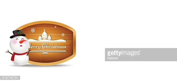 Christmas snowman and wooden sign with text merry christmas vect