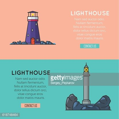 Lighthouse template banners, logo or label.