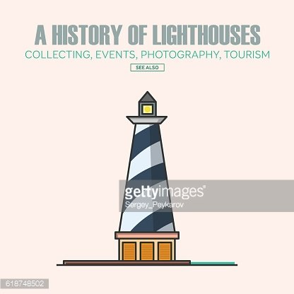Vector lighthouse logo design templates in trendy linear style.