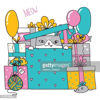 Card with a birthday cat with presents inside a box