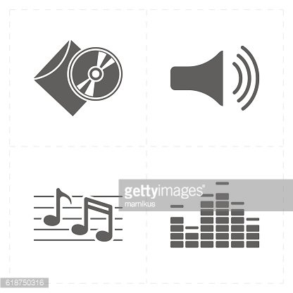 four universal flat music icons