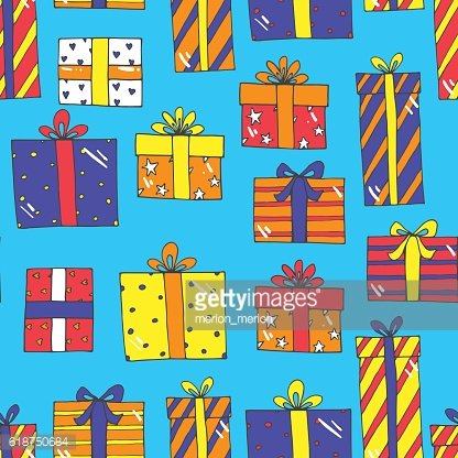 Seamless pattern with presents