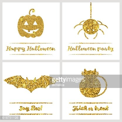 Set of Halloween gold textured icons