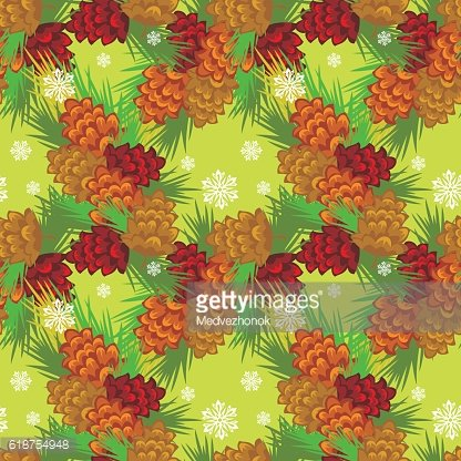 Seamless pattern with decorative pine cones.