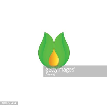 Isolated abstract honey drop in green leaf logo. Natural bee