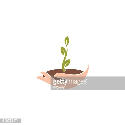 Isolated abstract natural logotype. Green color plant in human hand